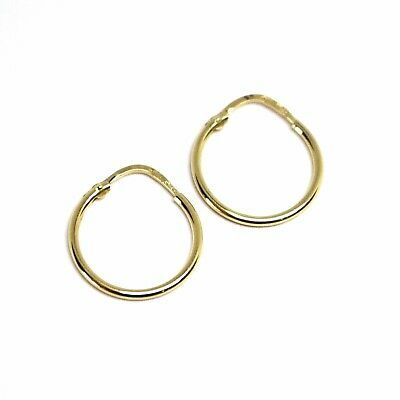 18K YELLOW GOLD ROUND CIRCLE HOOP SMALL EARRINGS DIAMETER 15mm x 1.2mm, ITALY