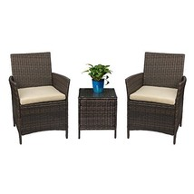 Devoko Patio Porch Furniture Sets 3 Pieces PE Rattan Wicker Chairs with ... - $124.21
