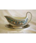 Wedgwood 1931 Florentine Turquoise Gravy Boat & Under Plate #2417 Old Ba... - $66.77