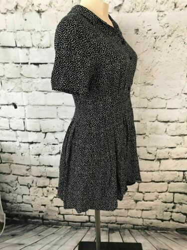 Forever 21 Womens Sz L Dress Polka Dot Button Front Cuffed Short Sleeve Collar