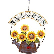 Garden Themed Sunflower Welcome Sign, Vintage Metal Sunflower and Wateri... - $29.30