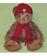 FOSSIL Watch TEDDY BEAR Plush Stuffed Animal Curly Brown with Burgundy H... - $18.69