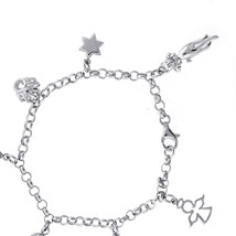 """Ladies Silver Bracelet With Seven Charms 7"""" - $88.11"""