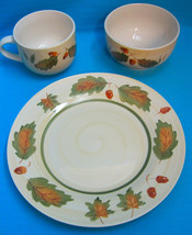 Royal Norfolk Acorn Fall Autumn 3 Piece Setting, Plate Cup Bowl Pattern #RNF84 - $39.95