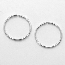 18K WHITE GOLD ROUND CIRCLE HOOP EARRINGS DIAMETER 15 MM x 1 MM, MADE IN ITALY image 1