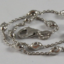 SOLID 18K WHITE GOLD BRACELET WITH MINI FACETED BALLS 7.09 in, MADE IN ITALY image 2