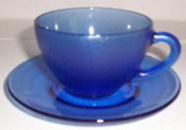 Cobalt Blue Frosted Glass, (2) Saucer & Tea Cups Set Made in Brazil - $24.99