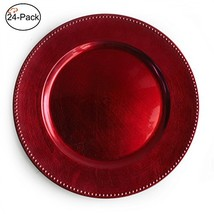 Tiger Chef 13-inch Red Round Beaded Charger Plates, Set of 2,4,6, 12 or ... - $64.87