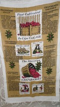 "VINTAGE 1980'S LINEN CLOTH KITCHEN TOWEL COUNTRY ""THE AMERICAN CRANBERRY... - $9.89"