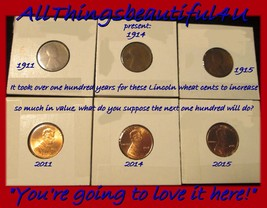 6 Lincoln Cents With 100 Years Between Each One; 1911,2011-1914,2014 & 1... - $7.25