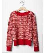 GAP KIDS Girls Red Fair Isle Nordic Crewneck Sweater Sz XL 12 NWT - $26.99