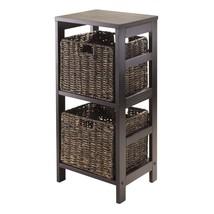 Winsome Granville 3-Piece Storage Shelf with 2-Foldable Baskets, Espresso - $85.46