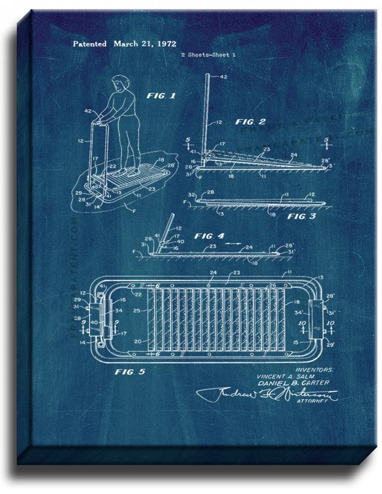 Primary image for Treadmill Patent Print Midnight Blue on Canvas