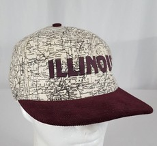 Vtg Illinois Map Snapback Hat Cap Corduroy Bill IL Roadmap Burgundy Made... - $27.99
