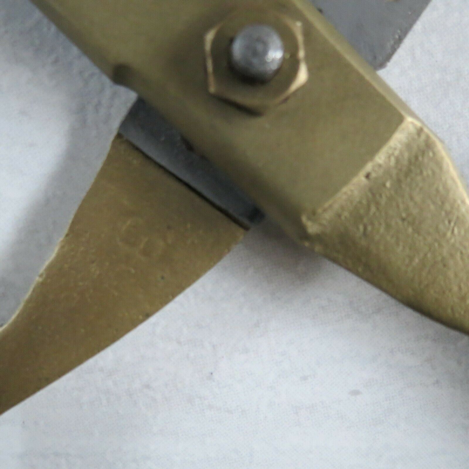Antique brass handled steel scissors Midwest brand number 8 12.75 inch