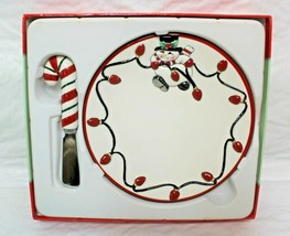 Fitz and Floyd Cheers 78/336 Christmas Snowman Snack Plate & Cheese Spreader - $19.99