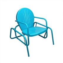 "LB International 34"" Turquoise Blue Retro Metal Tulip Outdoor Single Glider - $127.45"