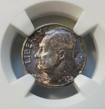 1957 Roosevelt Silver Dime NGC MS 66 MONSTER Copper Toned End Roll Album... - $59.99
