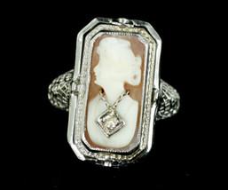 Antique Deco 14k White Gold Flip Ring Filigree Bowtie Ruballite Diamond ... - $449.99
