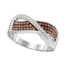 10kt White Gold Round Cognac-brown Colored Diamond Crossover Band Ring 1... - £201.03 GBP