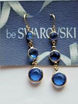 Vintage Swarovski Elements 10K Gold Plated Dangle Earrings Colbolt Cryst... - $14.00