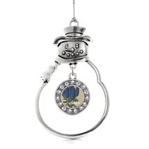 Inspired Silver Sister Delphinium Flower Circle Snowman Holiday Christmas Tree O - $14.69