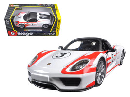 Porsche 918 Spyder Weissach #3 1/24 Diecast Model Car by Bburago - $36.94