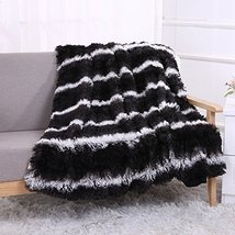 HUAHOO Super Soft Shaggy Chick Longfur Black Throw Blanket for bed- Snug... - $65.02 CAD