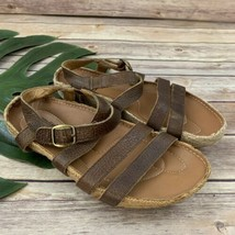 Kalso Earth Shoe Womens Sandals Size 7.5 Enlighten Brown Leather Straps Comfort - $35.63