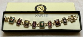 Vtg Designer Signed Napier Gold Tone & Rhinestone Link Charm Costume Bra... - $19.80