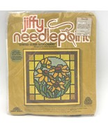 Vintage 1970s Jiffy Needlepoint Stained Glass Sunflowers Stitch Kit 5231... - $9.95