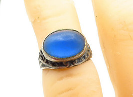 925 Silver - Vintage Antique Blue Topaz Dark Tone Petite Band Ring Sz 3 ... - $25.23
