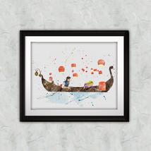 Rapunzel Flynn Rider decor Nursery Disney Print Printable Watercolor Ar... - $1.75