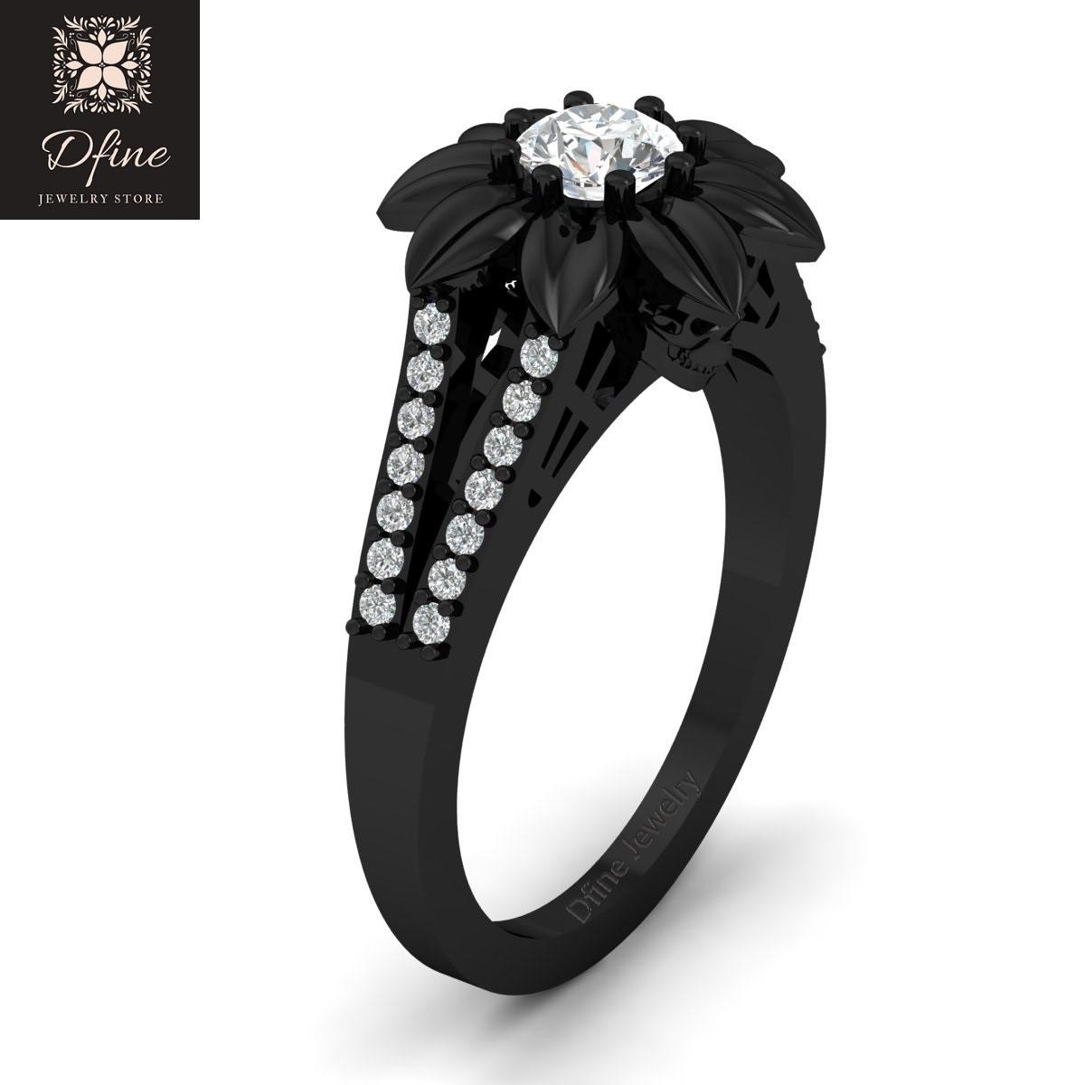 0 25ct Swarovski Diamond Ring Floral Design Ring Spooky