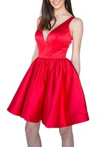 Women's Short Satin Prom Homecoming Dress with Pockets Juniors Party Dress - $92.99