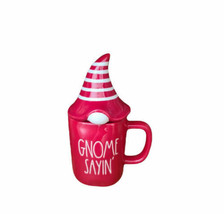 "Rae Dunn ""GNOME SAYIN"" Red Coffee Mug with Hat Topper Christmas Elf New HTF - $34.99"