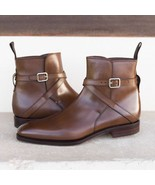 Men New Classic Looks Brown Leather High Ankle Jodhpurs Buckle Boot - $166.73+
