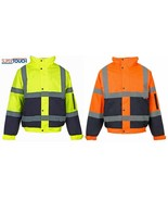Mens Hi Vis Visibility Viz 2 Tone Safety Bomber Jacket Fleece Lined Work... - $24.04