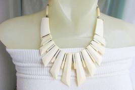 1970s Vintage Ethnic Cream Bone Bib Collar Necklace Chunky Silvertone Metal - $35.99