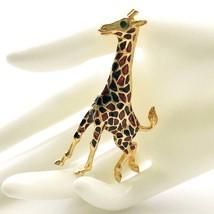 Vintage High End Enamel Giraffe Brooch, Brushed Gold Tone, Black Amber C... - $26.00