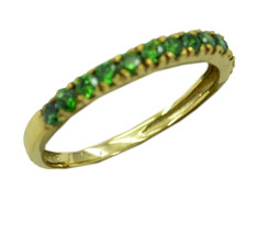 excellent Emerald CZ Gold Plated Green Ring genuine gemstones US gift - $20.99