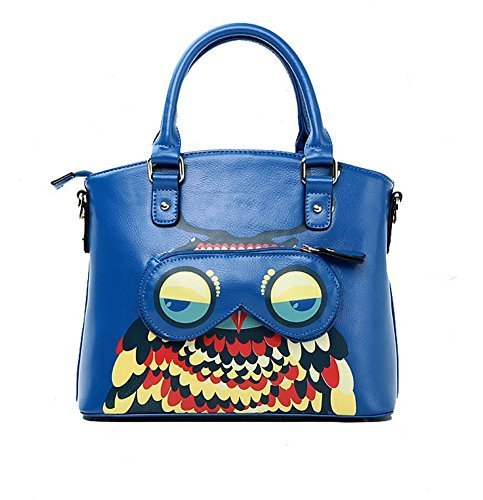 Novelty Owl Handbag Royal Blue Leather Top Handle Bag