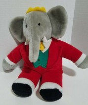 "BABAR the ELEPHANT Gund Plush 14""  Doll 1988 Red Suit Yellow Crown   - $21.77"