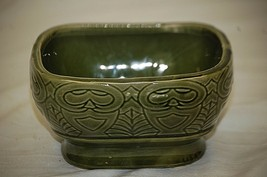 Vintage Green Art Pottery Windowsill Planter Abstract Design Unknown Mak... - $14.84
