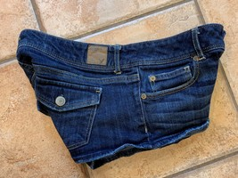 American Eagle Aeo Low Rise Blue J EAN S Hottie Hot Shorts Denim 6 Stretch Euc - $9.00