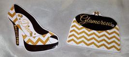 Gold & White Chevron Stripe Purse & High Heel Shoe w/ Gold Rhinestones M... - $9.50
