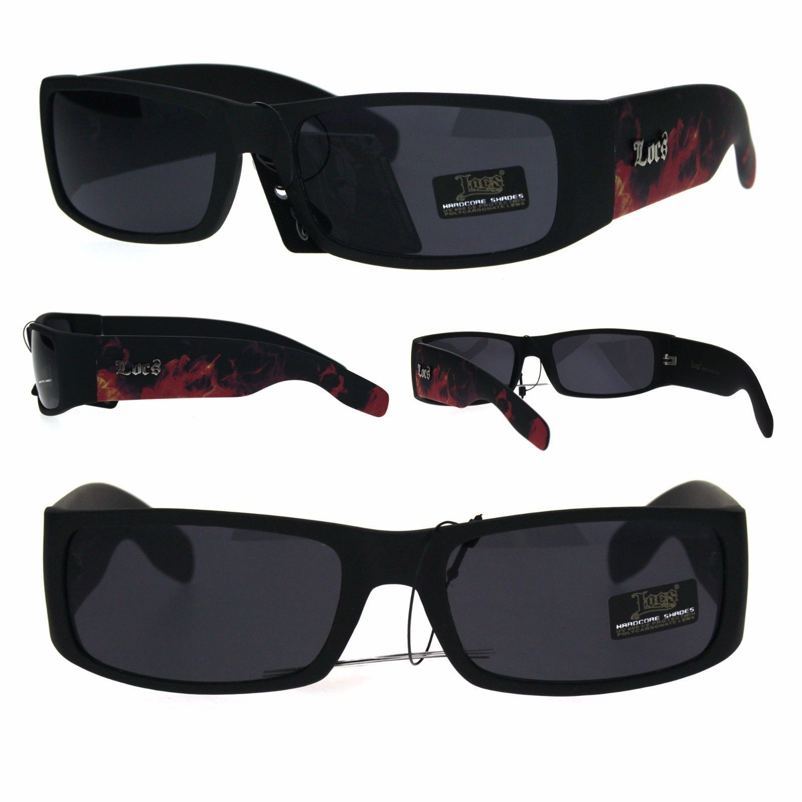 940d8d18b865 S l1600. S l1600. Previous. Locs Red Fire Flame Print Arm Thick Temple  Black Plastic Gangster Sunglasses