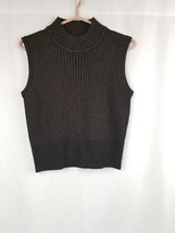 Jones New York Black With Gold Tone Knit Sleeveless Sweater Top Sz M - $14.98