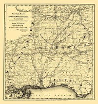 New Orleans Mobile Chattanooga Railroad - GLO 1867 - 23.00 x 24.43 - $36.58+