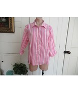 L.L.Bean top button-up pink white stripe XL 3/4 sleeve cuffs - $16.61